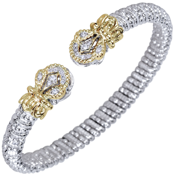 Vahan Bracelet ~ Sterling Silver & 14K Gold ~ 0.15cttw Diamonds ~ 6mm Width
