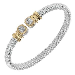 Vahan Bracelet in Sterling Silver and 14K Yellow Gold ~  0.07cttw  Diamonds ~ 4mm Width