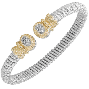 VAHAN Sterling Silver & 14K Gold with 0.09cttw Round-Cut Diamonds - 6 mm Width