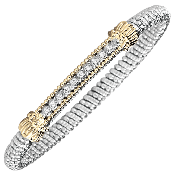 Buy Vahan Bracelets ~ Sterling Silver & 14K Gold ~  0.15cttw Diamonds ~ 4mm Width | Shop Avonlea Jewelry only at Avonlea Jewelry.