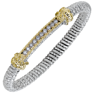 Vahan Bracelet ~ Sterling Silver & 14K Gold ~ 0.15cttw Diamonds ~ 4mm Width