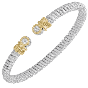 VAHAN Sterling Silver & 14K Gold - 0.05cts of Diamonds - 4mm Width