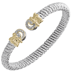 VAHAN Sterling Silver & 14K Gold - 0.14cttw Diamonds - 6mm Width