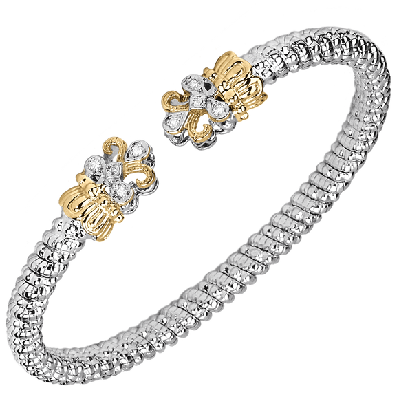 VAHAN Sterling Silver & 14K Gold - 0.08cts of Diamonds - 4mm Width