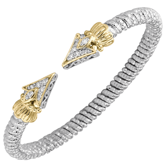 Buy Vahan Bracelets ~ Sterling Silver & 14K Gold ~  0.19cttw Diamonds ~ 4mm Width | Shop Avonlea Jewelry only at Avonlea Jewelry.