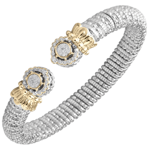 Vahan Bracelets: Vahan Jewelry for Women: Sterling Silver & 14K Gold with 0.29cttw Round-Cut Diamonds (G-H Color, VS2-SI1 Clarity) Width of 8mm
