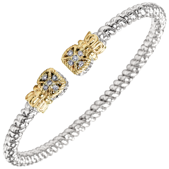 Vahan Bracelets: Vahan Jewelry for Women: Vahan Sterling Silver and 14K Yellow Gold with 0.08cttw Round-Cut Diamonds (G-H Color, VS2-SI1 Clarity) 3mm Wide Bangle