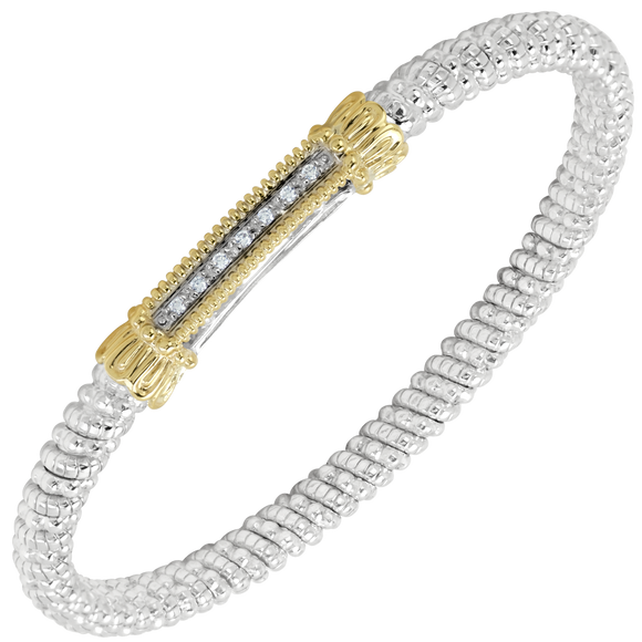 VAHAN Sterling Silver and 14K Yellow Gold with 0.07cts of Diamonds - 4mm Wide Bangle Bracelet