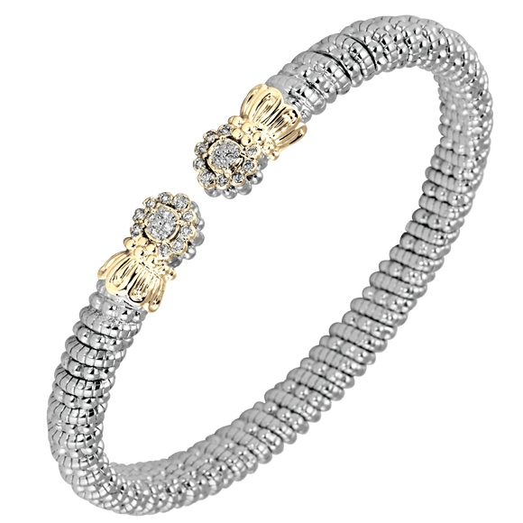 VAHAN Sterling Silver & 14K Gold - 0.14cttw Diamonds -  4 mm Width