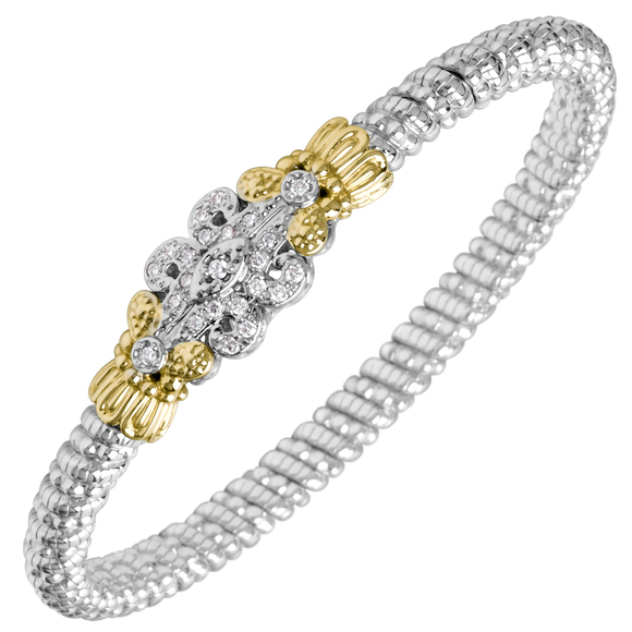 Vahan Bracelets: Vahan Jewelry for Women: Sterling Silver & 14K Gold with 0.25cttw Round-Cut Diamonds (G-H Color, VS2-SI1 Clarity) Width of 4mm