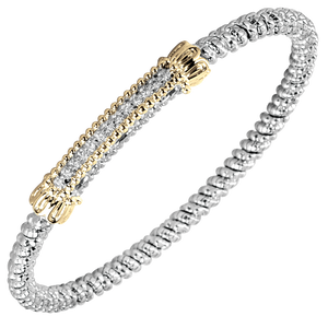 Vahan Bracelets: Vahan Jewelry for Women: Vahan Sterling Silver and 14K Yellow Gold with 0.10cttw Round-Cut Diamonds (G-H Color, VS2-SI1 Clarity) 3mm Wide Bangle