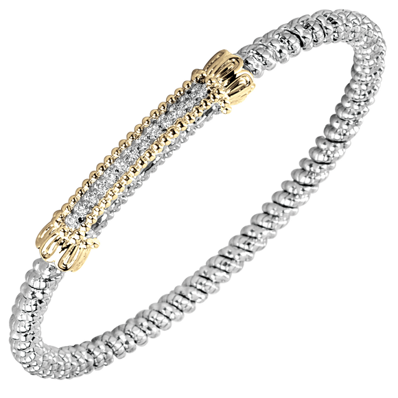 Buy Vahan Bracelets | Sterling Silver & 14K Gold | 0.10cts Diamonds | 3mm Width | Shop Avonlea Jewelry only at Avonlea Jewelry.