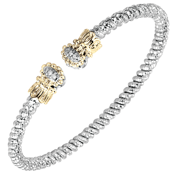 Vahan Bracelets: Vahan Jewelry for Women: Vahan: Vahan Sterling Silver and 14K Yellow Gold with 0.06cttw Round-Cut Diamonds (G-H Color, VS2-SI1 Clarity) 3mm Wide Bangle