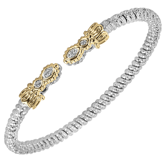 VAHAN Sterling Silver & 14K Gold - 0.06cts of Diamonds - 3mm Width