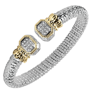 Vahan Bracelets: Vahan Jewelry for Women: Sterling Silver & 14K Gold with 0.24cttw Round-Cut Diamonds (G-H Color, VS2-SI1 Clarity) Width of 8mm