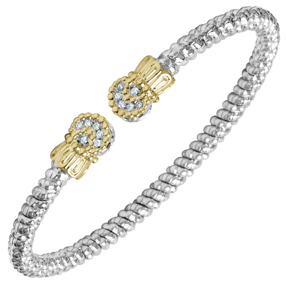 Vahan Bracelets: Vahan Jewelry for Women: Vahan Sterling Silver and 14K Yellow Gold with 0.09cttw Round-Cut Diamonds (G-H Color, VS2-SI1 Clarity) 3mm Wide Open Bangle