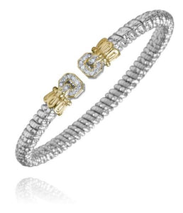VAHAN | Sterling Silver & 14K Gold | 0.14cts of Diamonds  | 4 mm Width