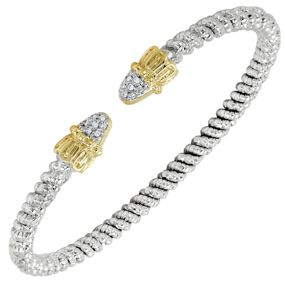 Vahan Bracelets: Vahan Jewelry for Women: Vahan Sterling Silver and 14K Yellow Gold with 0.07cttw Round-Cut Diamonds (G-H Color, VS2-SI1 Clarity) 3mm Wide Bangle