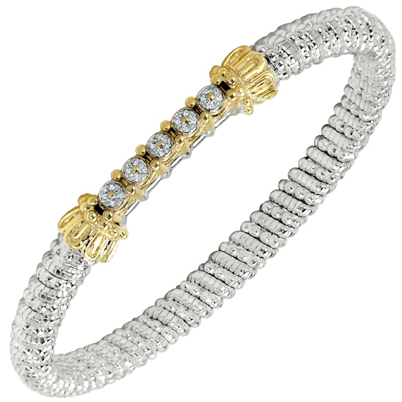 VAHAN Bracelets | 14K Yellow Gold and Sterling Silver Bangle Bracelet with 0.1cts of Diamonds [VAHAN 2020]