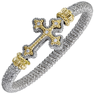 VAHAN Sterling Silver & 14K Gold - 0.10cttw Diamonds - 6 mm Width