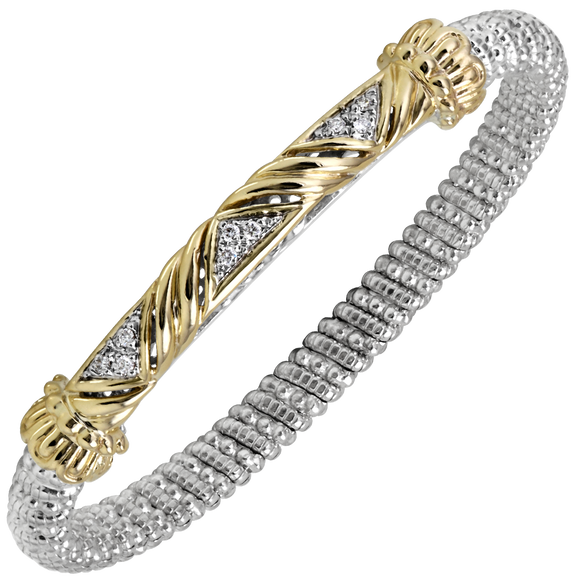 14K Yellow Gold and Sterling Silver Bangle Bracelet with 0.14ctsof Diamonds [VAHAN 2020]
