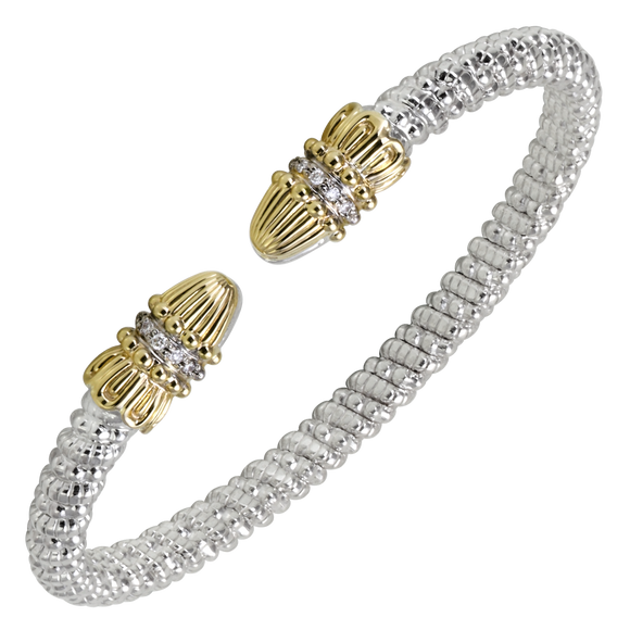 Vahan Bracelets: Vahan Jewelry for Women: Vahan Sterling Silver and 14K Yellow Gold with 0.08cttw Round-Cut Diamonds (G-H Color, VS2-SI1 Clarity) 4mm Wide Bangle
