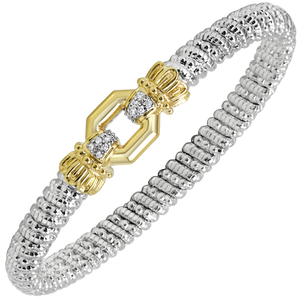 VAHAN Bracelets | 14K Yellow Gold and Sterling Silver Bangle Bracelet with 0.08cts of Diamonds [VAHAN 2020]