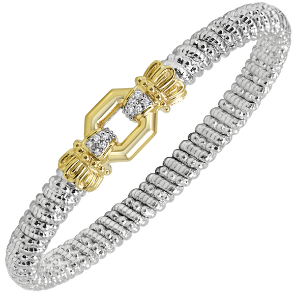 14K Yellow Gold and Sterling Silver Bangle Bracelet with 0.08ctsof Diamonds [VAHAN 2020]