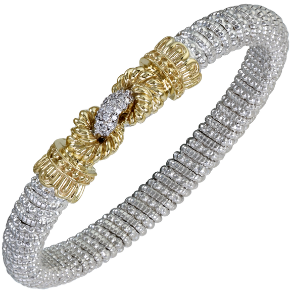 14K Yellow Gold and Sterling Silver Bangle Bracelet with 0.15ctsof Diamonds [VAHAN 2020]