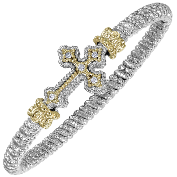 Vahan Bracelets: Vahan Jewelry for Women: Vahan Sterling Silver and 14K Yellow Gold with 0.10cttw Round-Cut Diamonds (G-H Color, VS2-SI1 Clarity) 4mm Wide VAHAN Cross Bracelet Bangle