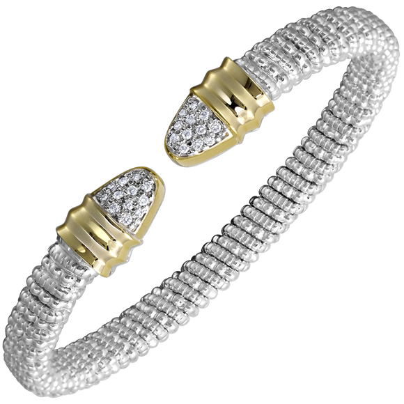VAHAN Bracelets | 14K Yellow Gold and Sterling Silver Open Bangle Bracelet with Diamonds [VAHAN 2020]