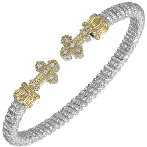 VAHAN Sterling Silver & 14K Yellow Gold - 0.10cts of Diamonds - 4mm Width
