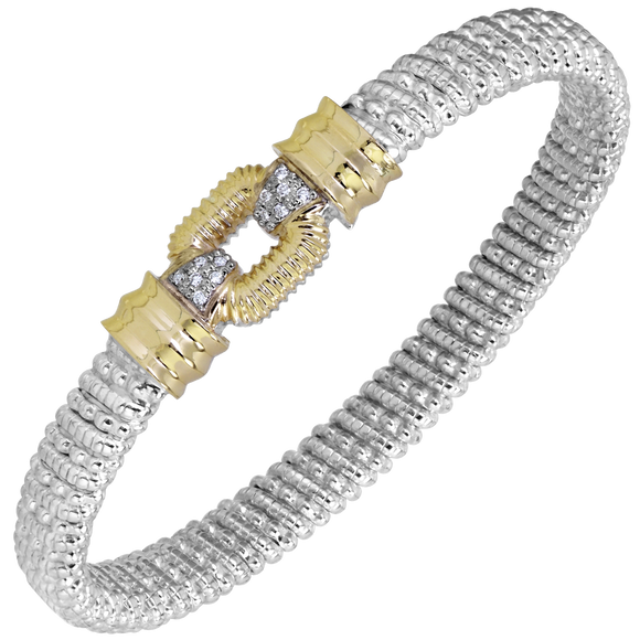 14K Yellow Gold and Sterling Silver Bangle Bracelet with 0.09ctsof Diamonds [VAHAN 2020]