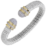 VAHAN Bracelets | 14K Yellow Gold and Sterling Silver Open Bangle Bracelet with 0.36cts of Diamonds [VAHAN 2020]