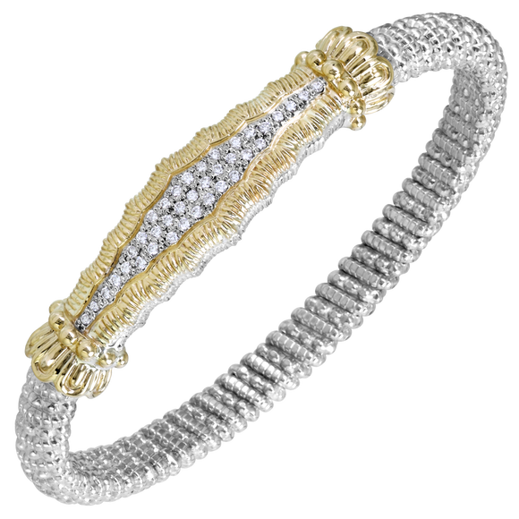 14K Yellow Gold and Sterling Silver Bangle Bracelet with 0.28ctsof Diamonds [VAHAN 2020]