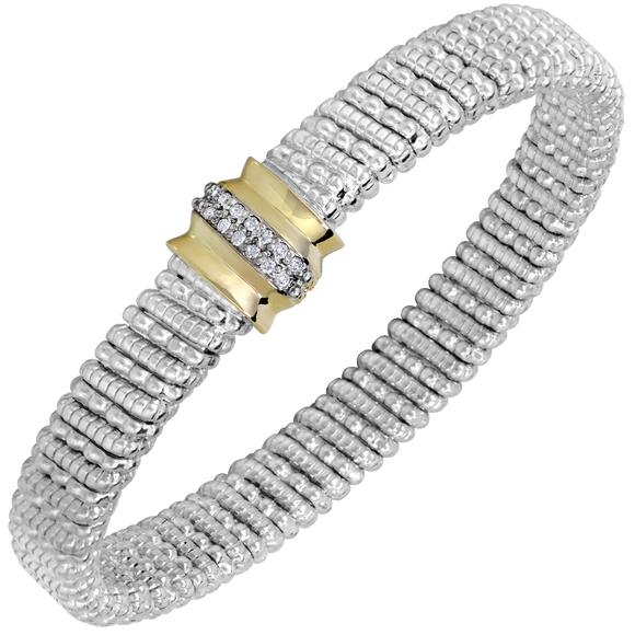 14K Yellow Gold and Sterling Silver Bangle Bracelet with 0.11ctsof Diamonds [VAHAN 2020]