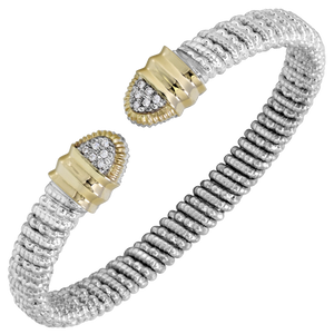 Vahan Bracelets: Vahan Jewelry for Women: Vahan Sterling Silver and 14K Yellow Gold with 0.09cttw Round-Cut Diamonds (G-H Color, VS2-SI1 Clarity) 6mm Wide Bangle