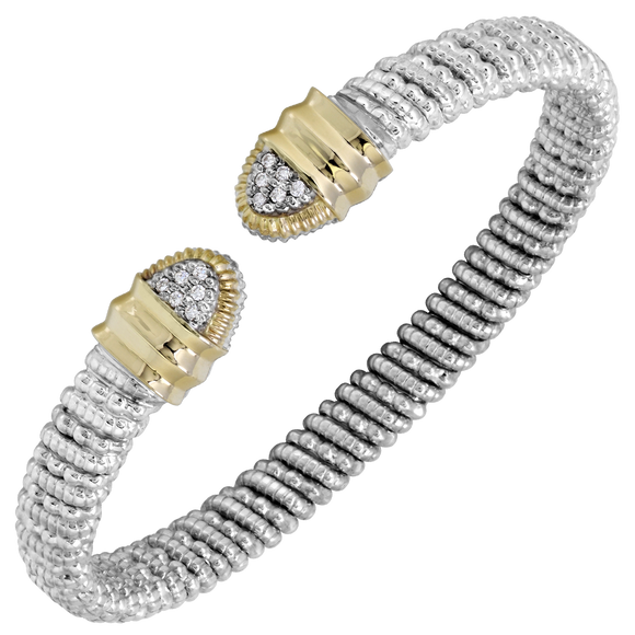 Buy Vahan Bracelets | Sterling Silver & 14K Gold | 0.09cttw Diamonds | 6mm Width | Shop Avonlea Jewelry only at Avonlea Jewelry.