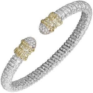 Buy Vahan Bracelet ~ Sterling Silver & 14K Gold ~ 0.17cttw Diamonds ~ 6mm Width | Shop Avonlea Jewelry only at Avonlea Jewelry.