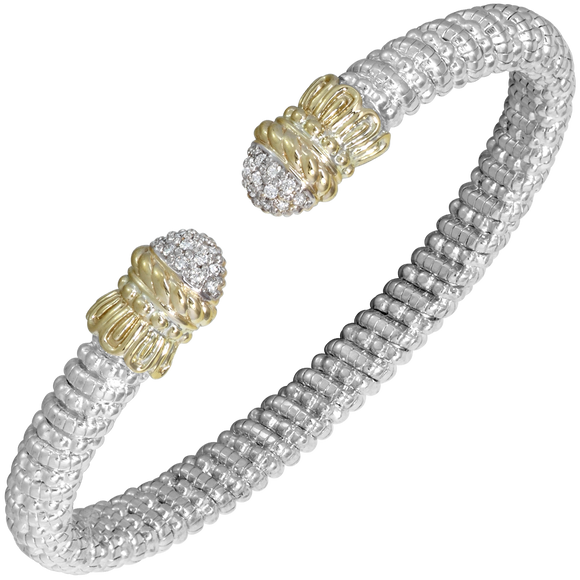 Vahan Bracelet ~ Sterling Silver & 14K Gold ~ 0.17cttw Diamonds ~ 6mm Width