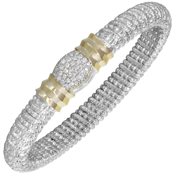 14K Yellow Gold and Sterling Silver Bangle Bracelet with 0.31ctsof Diamonds [VAHAN 2020]