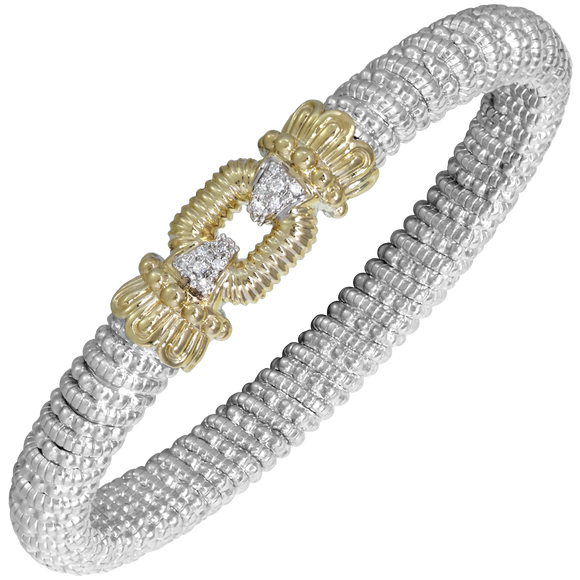 VAHAN Sterling Silver & 14K Gold - 0.09cts of Diamonds - 8mm Width