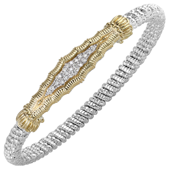 Vahan Bracelet ~ Sterling Silver & 14K Gold ~ 0.17cttw Diamonds ~ 4mm Width