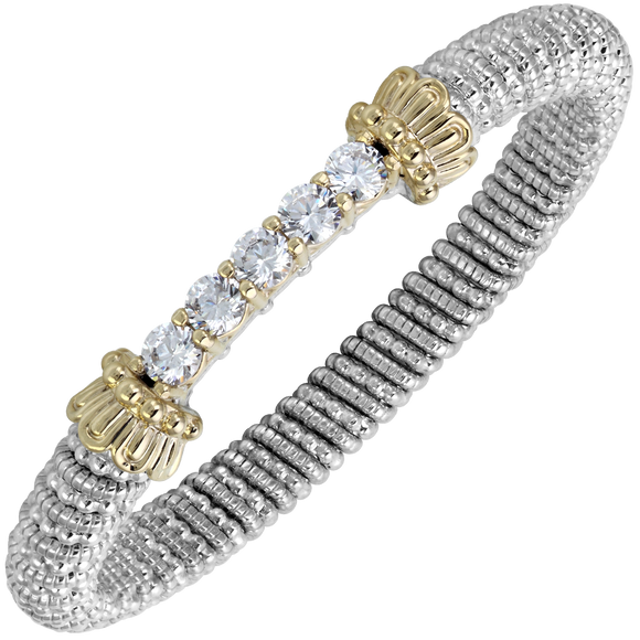 14K Yellow Gold and Sterling Silver Bangle Bracelet with CZ Stones [VAHAN 2020]