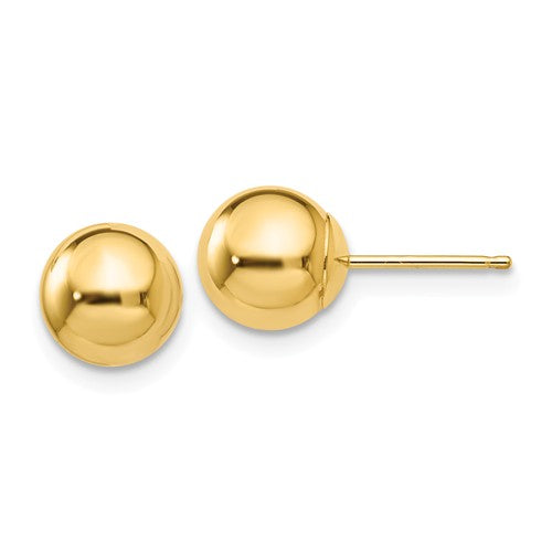 14K Yellow Gold Polished Ball Stud Earrings with push tension-back closures