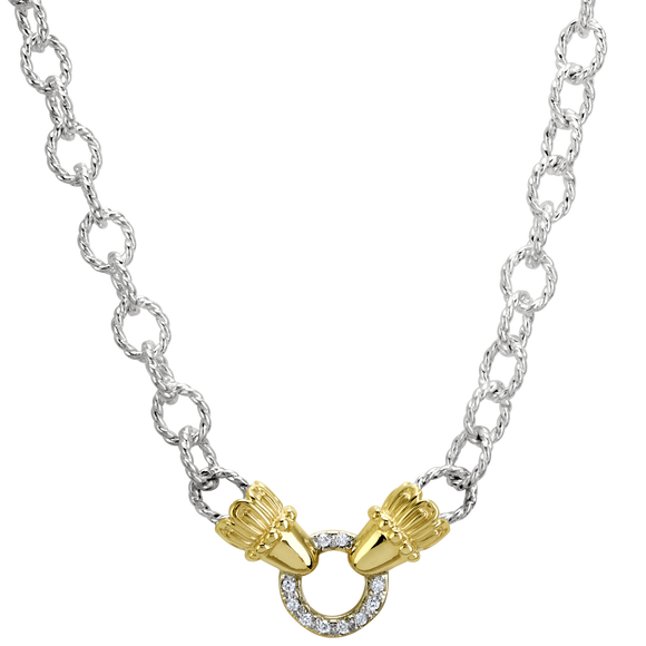 Vahan Necklaces: Vahan Jewelry for Women: Sterling Silver & 14K Gold with 0.10cttw Diamonds