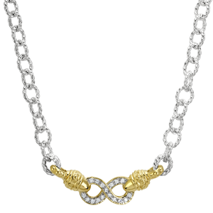 Vahan Infinity Necklace | Sterling Silver & 14K Gold with 0.17cts Diamonds