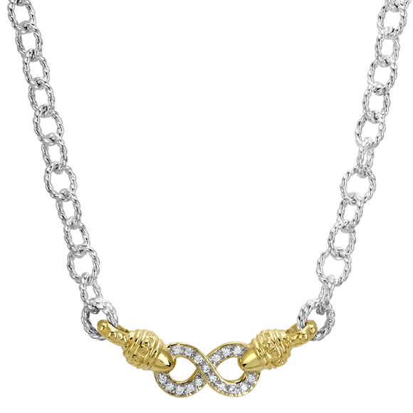 Vahan Necklaces: Vahan Jewelry for Women: Sterling Silver & 14K Gold with 0.17cttw Diamonds