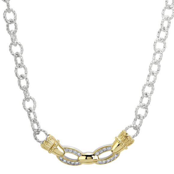 Vahan Necklaces: Vahan Jewelry for Women: Sterling Silver & 14K Gold with 0.18cttw Diamonds