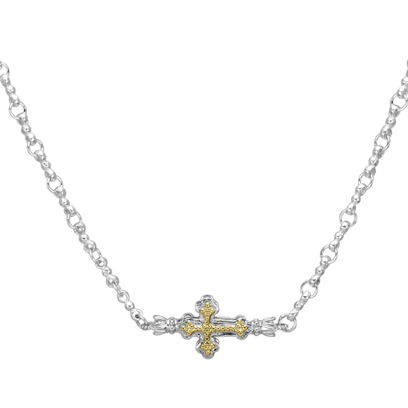 Buy Vahan Necklace |  Textured Sterling Silver with 14K Yellow Gold Cross | Shop Avonlea Jewelry only at Avonlea Jewelry.